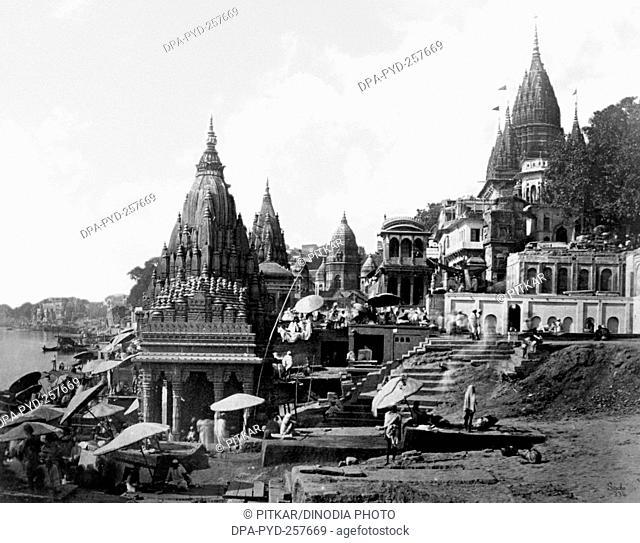 old vintage lantern slide of Ghat banaras, Varanasi, uttar pradesh, India, Asia
