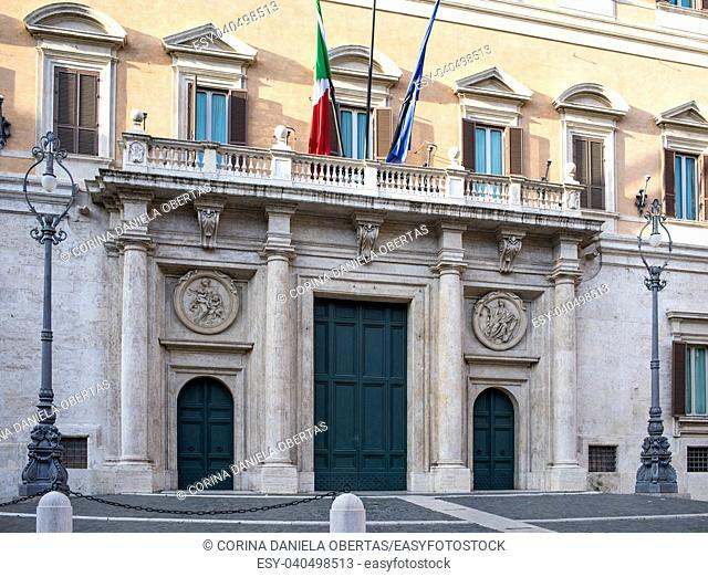 The Palazzo Montecitorio in Rome, where is the seat of the Italian Chamber of Deputies, originally designed by Gian Lorenzo Bernini for the young cardinal...