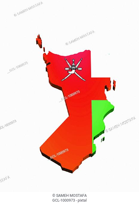 map and flag of Oman