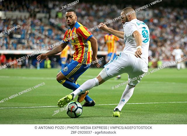 Benzema with the ball in front of Ruben Vezo. LaLiga Santander matchday 2 between Real Madrid and Valencia. The final score was 2-2