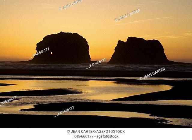 Twin Rocks at sunset, Rockaway Beach, Northern Oregon coast, USA