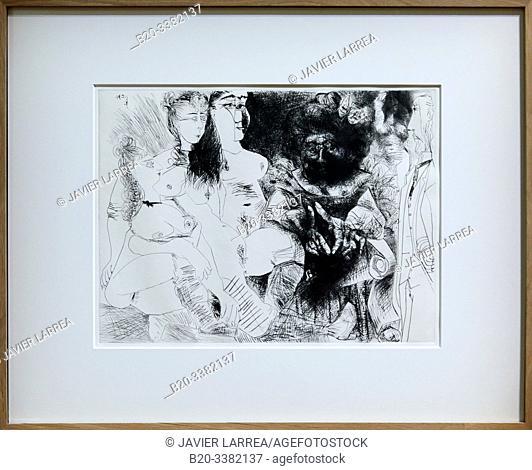 """""""La Patronne faiseuse d'anges, avec trois filles. Degas aux mains dans le dos"""", 1971, Pablo Picasso, Picasso Museum, Paris, France, Europe"""