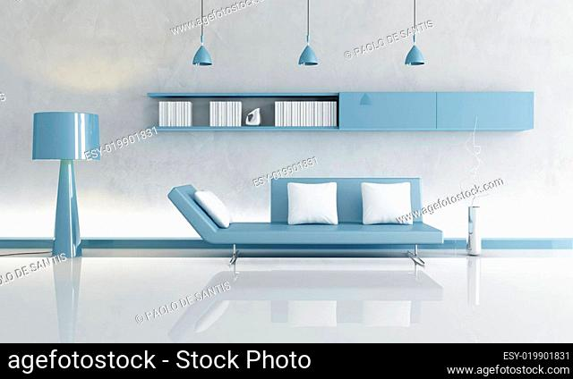 gray and blue living room
