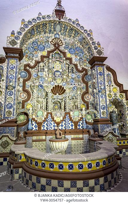 Elaborate fountain mosaic made with Talavera tiles and Chinese porcelain, Museo Casa del Risco, Mexico City, Mexico