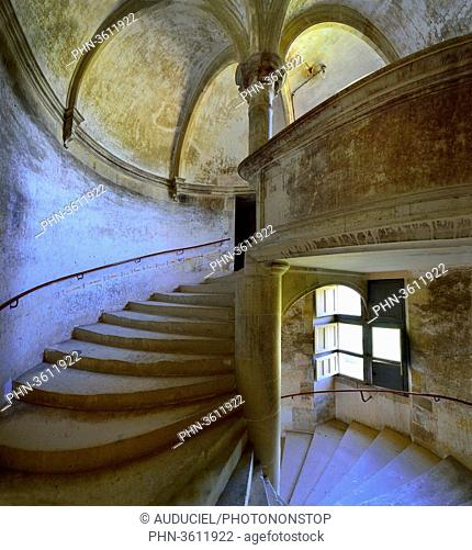 Europe, France, spiral staircase of the castle of Saint-Amand in Puisaye in Burgundy