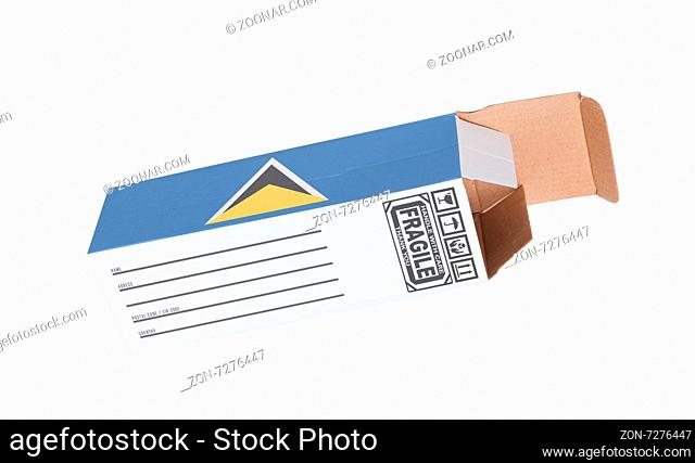 Concept of export, opened paper box - Product of Saint Lucia