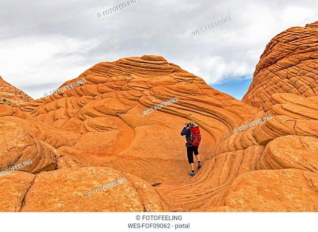 USA, Arizona, Page, Paria Canyon, Vermillion Cliffs Wilderness, Coyote Buttes, red stone pyramids and buttes, tourist taking a picture