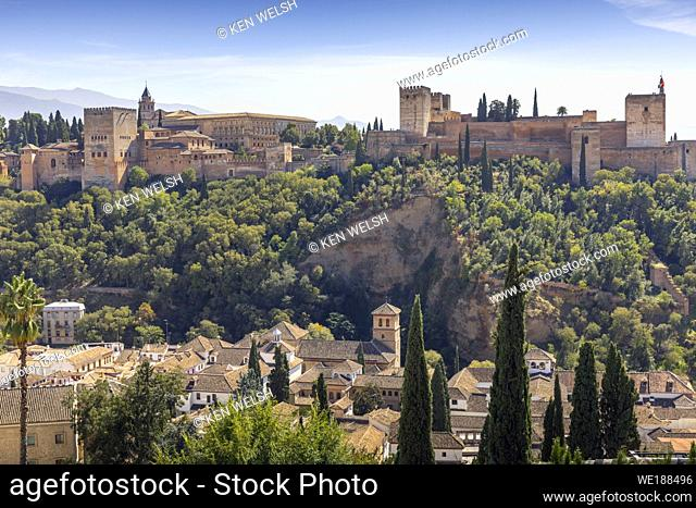 The Alhambra palace seen from the Albaicin, Granada, Granada Province, Andalusia, southern Spain