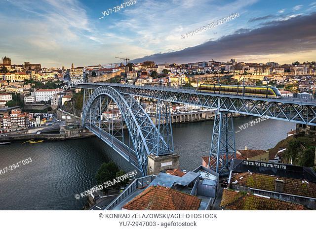 View on famous Dom Luis I arch bridge between cities of Porto and Vila Nova de Gaia cities, Portugal