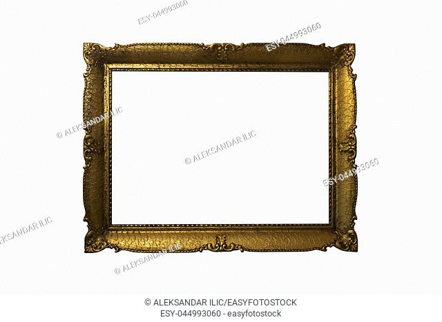 Golden Ornate Picture Frame Isolated On White Background. Antique and Vintage Objects