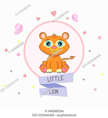 Cartoon baby animal with lettering Little Lion. Graphics for t-shirts. Greeting card. Vector illustration