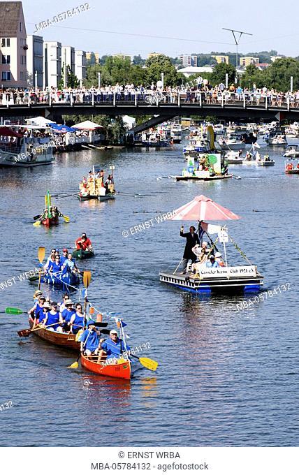 Public festival Zissel, water procession on Fulda, Kassel, Hessen, Germany