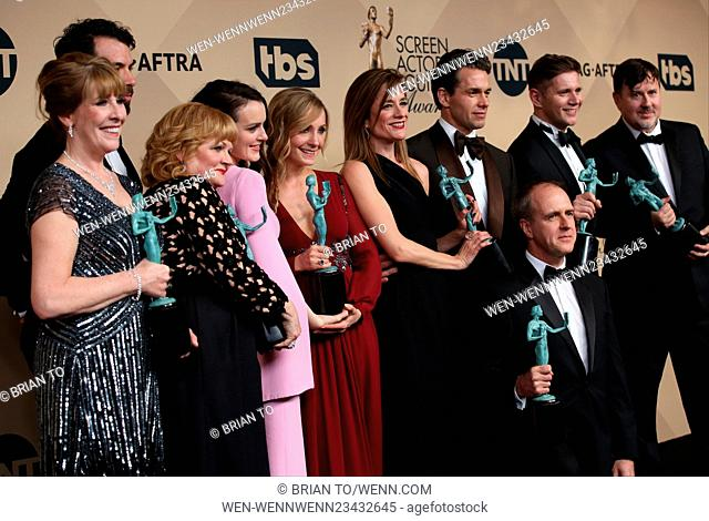 22nd Annual Screen Actors Guild Awards at The Shrine Expo Hall - Press Room Featuring: Phyllis Logan, Lesley Nicol, Tom Cullen, Sophie McShera, Joanne Froggatt