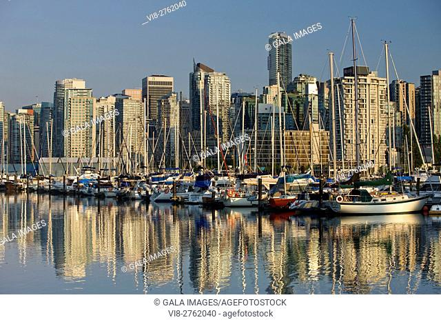 COAL HARBOUR FROM ROYAL VANCOUVER YACHT CLUB STANLEY PARK DOWNTOWN SKYLINE VANCOUVER BRITISH COLUMBIA CANADA