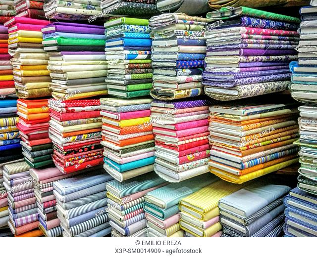 Fabrics in a store