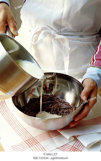 Preparing chocolate Ganache