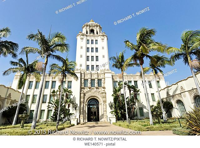 Palm trees and the Spanish Revival architecture of the Beverly Hills City Hall, California