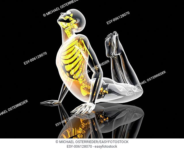 A lookalike of the King Cobra Yoga pose. 3D illustration