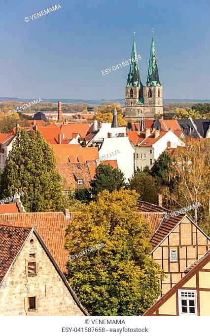 Towers of the Nikolai church in Quedlinburg, Germany