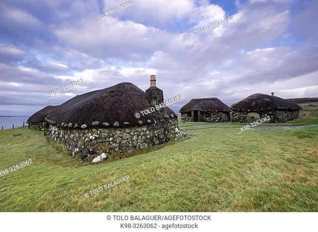typical Celtic settlement, museum of island life, Kilmuir, (Cille Mhoire), west coast of the Trotternish peninsula, Isle of Skye, Highlands, Scotland