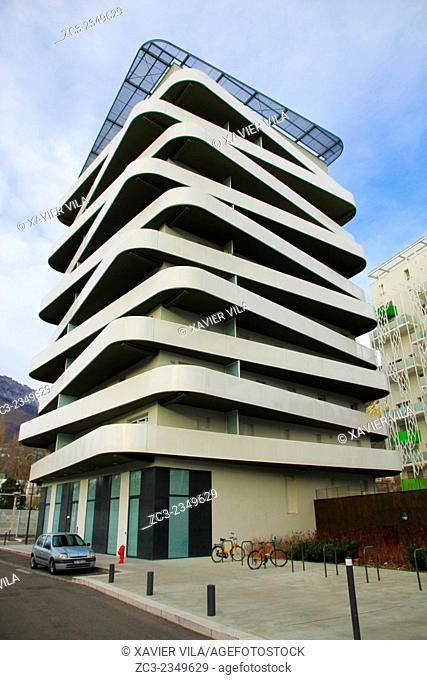Building in the neighborhood of Presque ile, Quai de la Graille, Grenoble, Isere, Dauphine, Rhone Alpes. Grenoble FRANCE