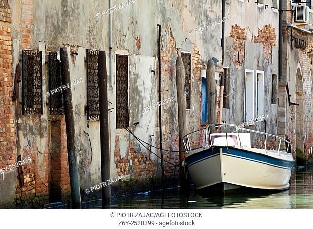 Moored motorboat in Venice, Italy