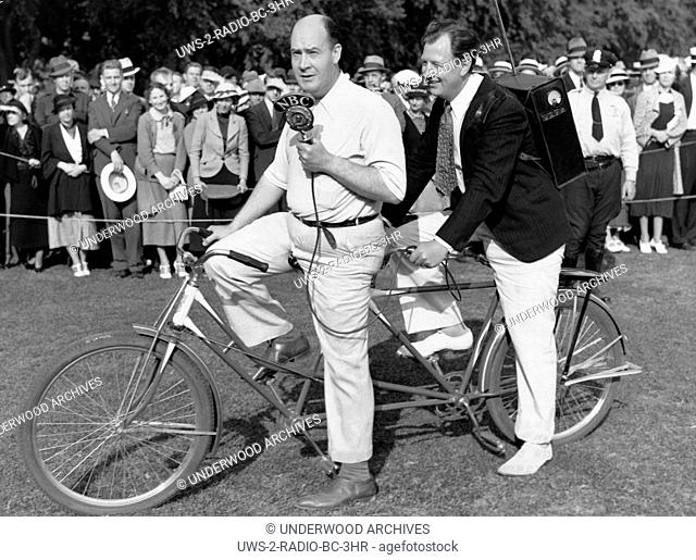 Washington, D.C.: May 30, 1936.Star NBC sports announcer Jim McGrath and NBC engineer Phil Merryman commandeer a tandem bicycle to be able to announce the 25...