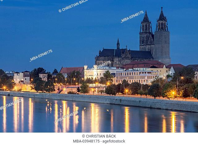 townscape by night, Magdeburg, Saxony-Anhalt, Germany