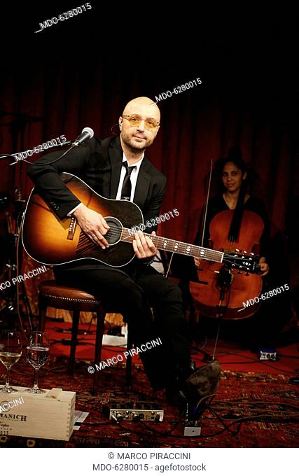 Entrepreneur and television personality Joe Bastianich on the stage of the Teatro Franco Parenti during his theatrical show Vino Veritas. Milan, Italy