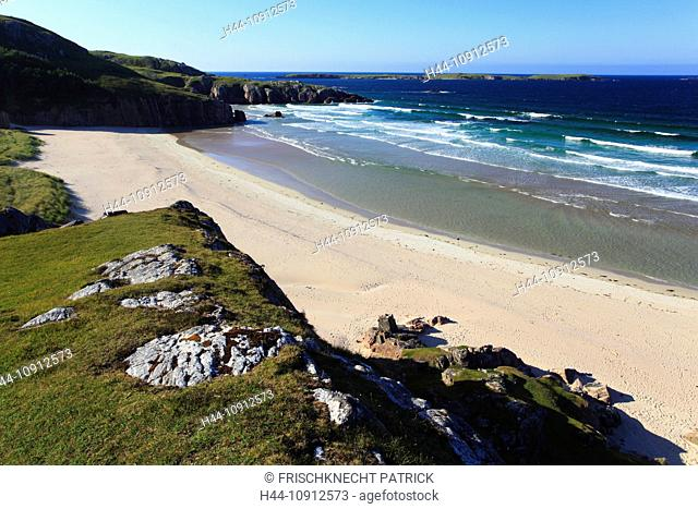 ling, common heater, bay, Calluna vulgaris, Durness, Erica, Erika, Great Britain, Heather, moor, Highland, highlands, highland, cliff, cliffs, coast, scenery
