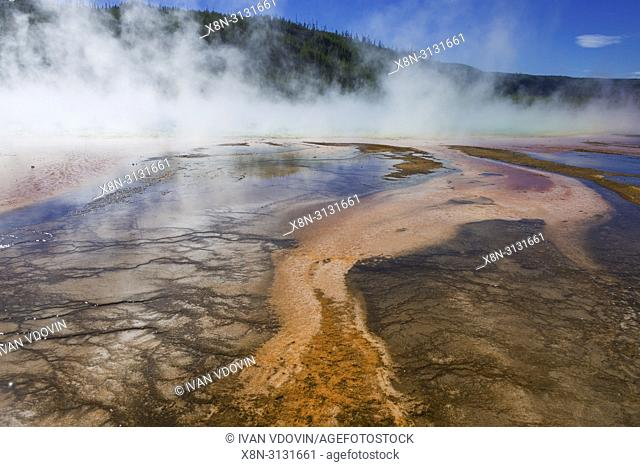Grand Prismatic Spring, Firehole river, Yellowstone National Park, USA