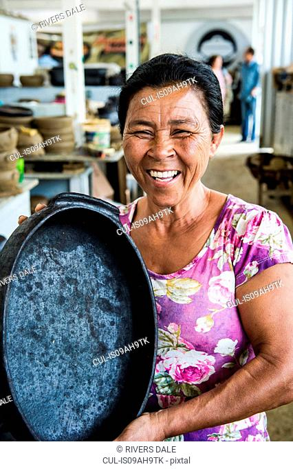 Brazilian woman with traditional pan