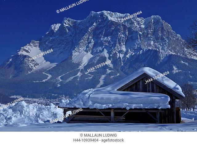 Austria, Europe, Tyrol, Ausserfern, washbasin, Lermoos, Ehrwald, winter, snow, Stadel, mountain, Zugspitze, Wetterstein, ropeway, Alps, calendar picture, rest