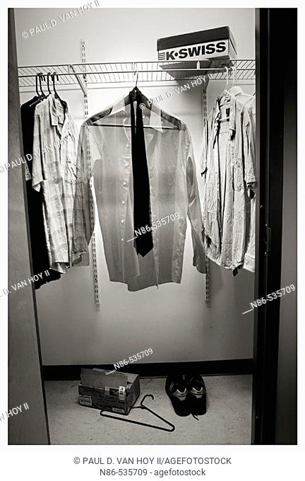 Closet with clothes