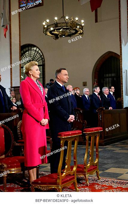 May 3rd, 2018. Warsaw, Poland. Presidential Couple during holy mass for the intention of Poland. Pictured: Presidential Couple - Andrzej Duda and Agata Duda