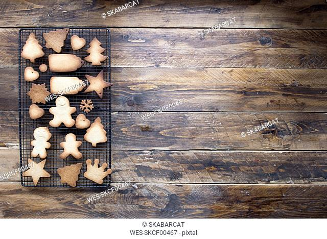 Various home-baked gingerbread cookies on cooling grid