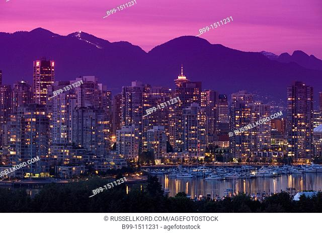 False Creek Skyline Downtown Vancouver To Coast Mountains British Columbia Canada