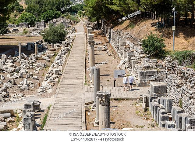 View of streets in the ruins of Ephesus, Selcuk, Izmir, Turkey. Harbour Baths