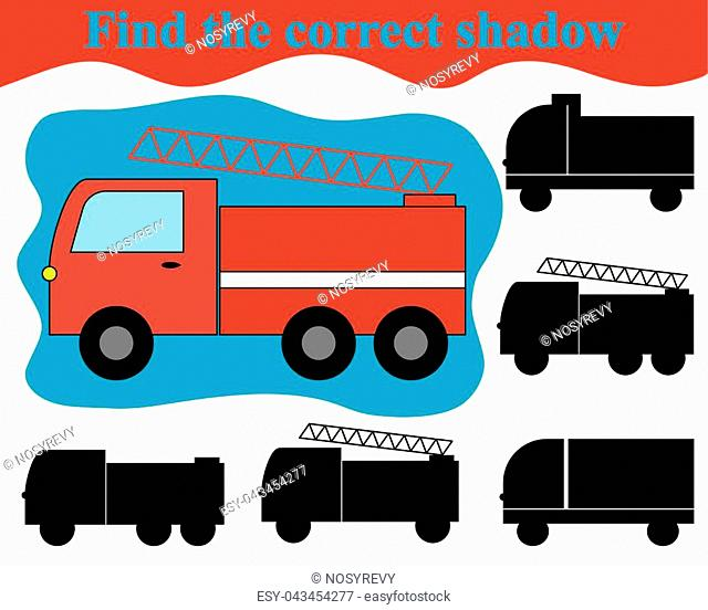 Visual game for children. Find the correct shadow of fire engine (transport)