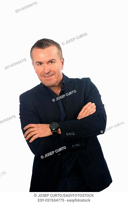 man with blazer on white background
