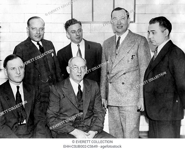 Roger Touly and his gang after they were acquitted of William Hamm, Jr.'s kidnapping. Federal court, St. Paul, Minnesota, Nov. 28, 1933