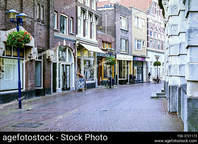 Schiedam, Netherlands. Deserted Main Street with Retail Shops having hard time due to Corona Crisis
