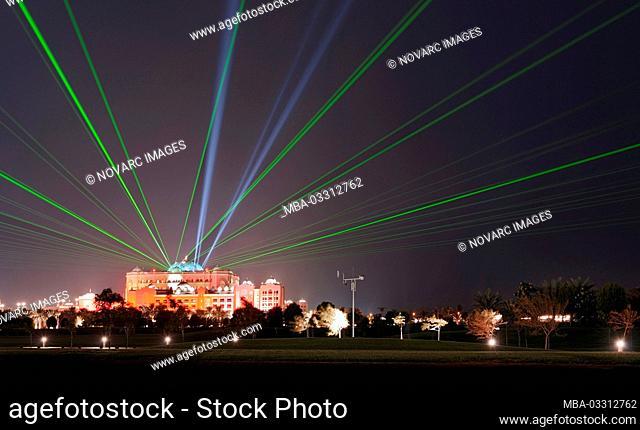 Emirates Palace with laser show, Abu Dhabi, United Arab Emirates