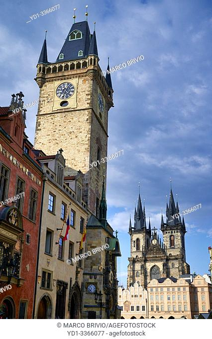 Prague Czech Republic. The Gothic Church of Our Lady before Tyn in Old Town Square and the Old Town Hall