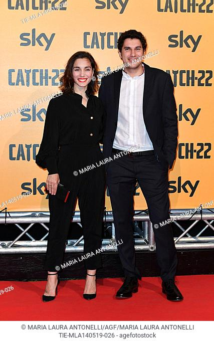 Cristiana Dell'Anna with husband Emanuele during the Red carpet for the Premiere of film tv Catch-22, Rome, ITALY-13-05-2019