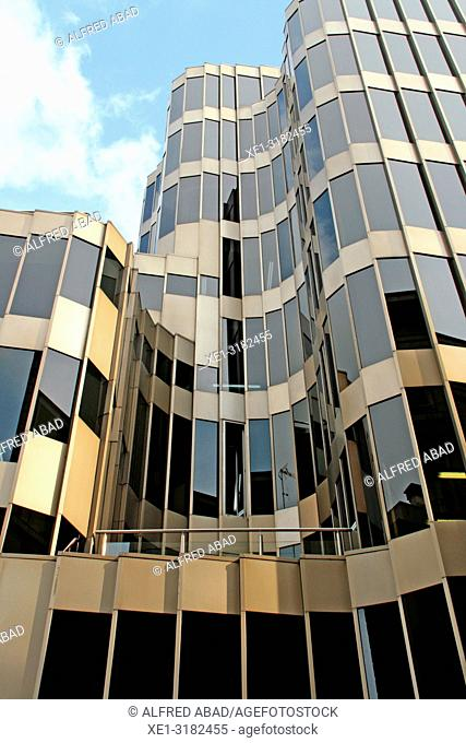 glazed windows, building Nervion, Via Laietana, Barcelona, Catalonia, Spain