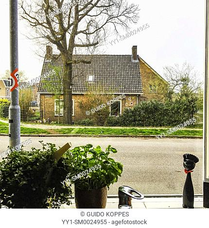 Nijmegen, Netherlands. View from the kitchen window of an Airbnb home, towards a opposite house