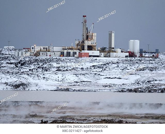 Geothermal area Gunnuhver and power plant Sudurnes with a new drill site on Reykjanes peninsula during winter. Northern Europe, Scandinavia, Iceland, February