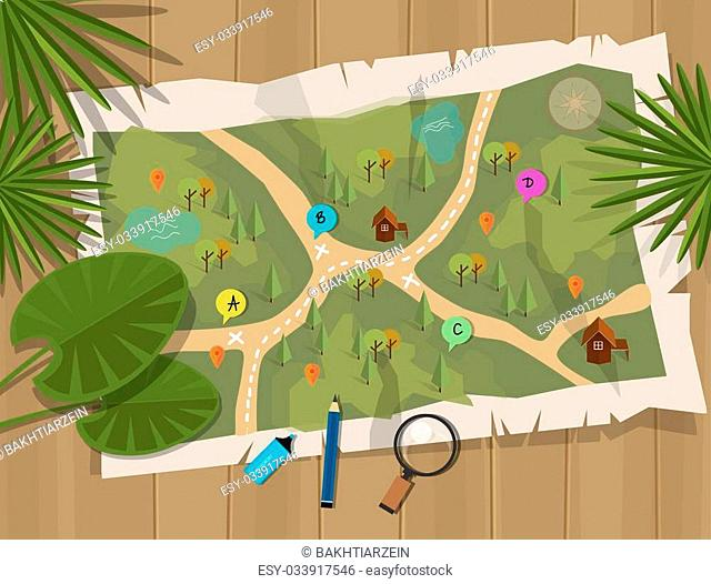 Map Of African Jungle.African Set With Map And Animals Stock Photos And Images Age Fotostock