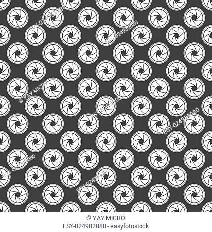 Photo camera diaphragm web icon. flat design. Seamless gray pattern